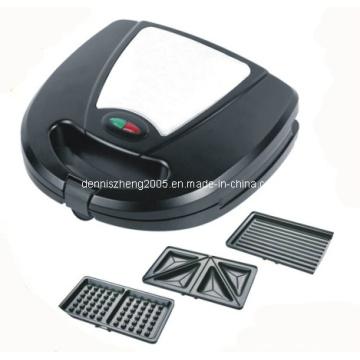 Fabricante del emparedado con la placa desmontable, 3 en 1 sándwich Panini y prensa Waffle de 3 sistemas de placas calefactoras desmontables
