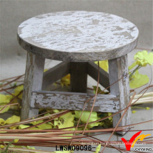 Distressed White Manmade Antique Wooden Small Stool
