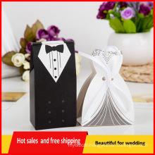 100pcs Bride Groom Dress Tuxedo Party Wedding Favor Ribbon Candy Boxes Gift