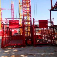 Alzamiento del material de la jaula doble Ss100 / 100 1ton / elevación de la construcción / maquinaria de construcción