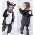Suave bebé franela mameluco Animal Onesie traje de trajes de pijamas, ropa para dormir, lindo paño negro, bebé con capucha toalla