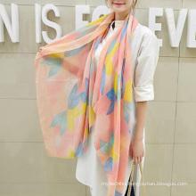 Hot sale charming korea muffler scarf flowers printing plain cotton scarf