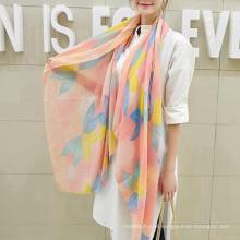 Venda quente charme coréia cachecol silenciador flores impressão simples lenço de algodão