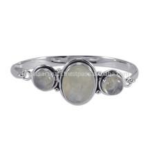 Стерлингового серебра 925 простой дизайн с естественной радуги драгоценных камней Браслет Браслет для подарка