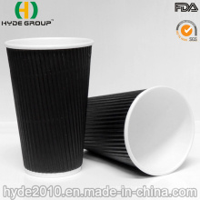 Kraft Ripple Wall Disposable Paper Cup with Lid