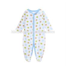 Estampado personalizado de algodón recién nacido con estampado de estrellas de manga larga estampado bebé niño mameluco de invierno