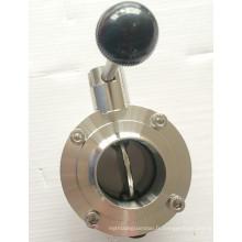 Valve papillon sanitaire manuel DIN / SMS / 3A en acier inoxydable avec manette de traction / poignée multifonctionnelle