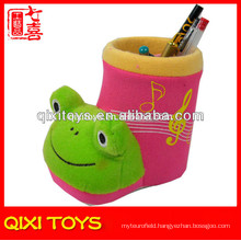 Beautiful stuffed plush frog pen container animal plush pen container