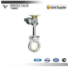 electrically actuated knife gate valves