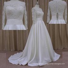 Очень Красивая Империи Талии Вышитый Бисером Атласная Свадебное Платье