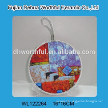 Promotion ceramic pot holders with lifting rope