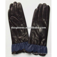 Fashion Lady Leather Gloves with lace on the wrist