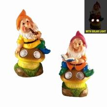 Dwarf on Mushroom Double Solar Light Yard Décoration pour jardin