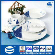 20pcs round porcelain ware dinner set with Christmas painting