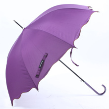 Auto Open Pure Edged Curved Handle Straight Umbrella (BD-74)