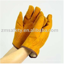yellow cowhide driver glove