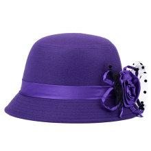 Леди Мода Цветочная Имитация Шерсть Трикотажная Зимняя Ковшковая шляпа (YKY3230)