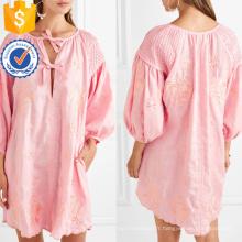 Linge brodé rose ourlet festonné mini robe d'été Fabrication en gros de mode femmes vêtements (TA0294D)