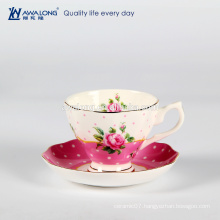 Flower printing chinoiserie ceramic coffee cup and saucer