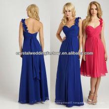 One shoulder chiffon floor length royal blue bridesmaid dresses CWFab5219