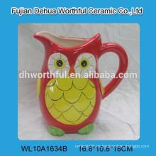 Excelente jarra de agua de cerámica en forma de búho, jarra de leche de cerámica para la venta al por mayor
