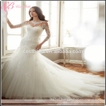 Mariage praia vestido de noiva Querida Veja Através de vestidos de noiva de sereia sexy Manga comprida