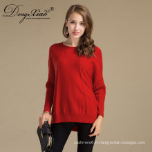 Pull marin de laine de haute qualité de femmes avec le tissu mou des usines de vêtements chinois