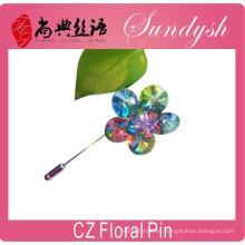 Venta al por mayor de la CZ Pin floral que casa el accesorio nupcial Broche de la flor