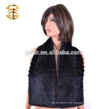 Großhandel Winter Frauen echten Kaninchen Pelz mit Wolle gestrickten Schal