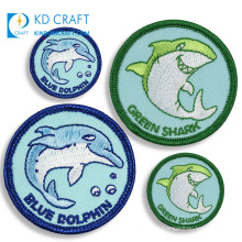 New fashion personalized custom logo cute ocean dolphin woven  iron on clothing fabric embroidered animal patch for hat