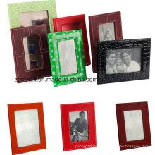 Qualidade 4X6, 5X7 PU Leather Photo Frames Relógio promocional Frame de couro