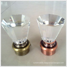 Window dryper hardware crystal glass curtain finials for curtain rods decoration