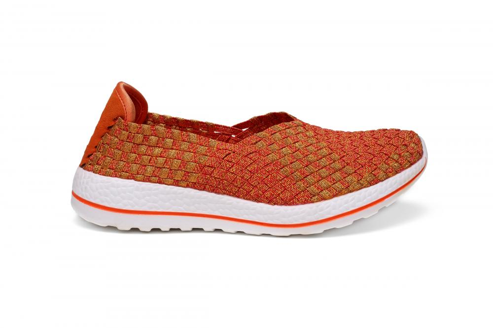 Golden And Orange Color Slip-ons