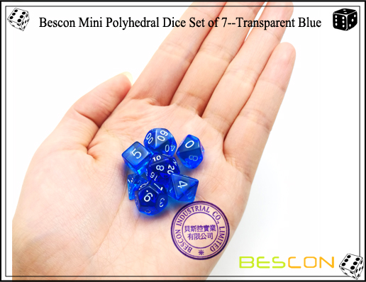 Bescon Mini Polyhedral Dice Set of 7--Transparent Blue-5