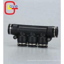 Conector de encaixe pneumático de 5 vias de plástico tipo PK