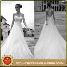 AR11 Hot Sale Elegant Wedding Gown Applique Lace A Line Boho Wedding Dress Sheer Back