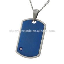 Azul plateado con acero CNC blanco rhinestone joyería de los hombres colgantes