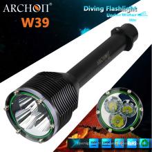 Torche professionnelle à la plongée LED, lampe de poche de plongée militaire W39 (CE, RoHS)