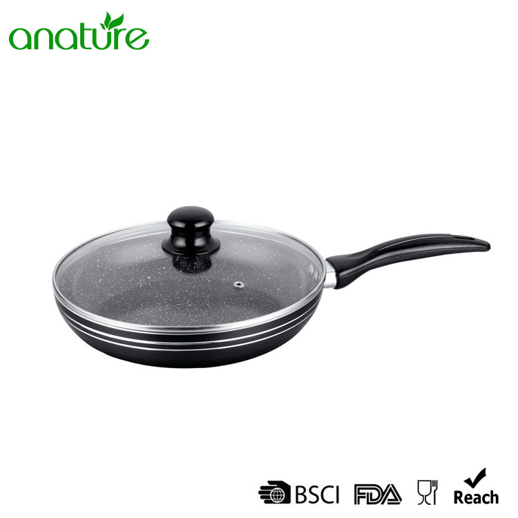 Pressed Marble Coating Fry Pan With Lid