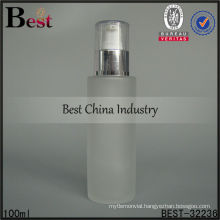 100ml frosted lotion pump dispenser bottle with clear cap, glass bottle with plastic dispenser cap personal, empti lotion bottle