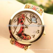 Reloj retro wooven hecho a mano 2015 de la pulsera del alto talón del nuevo diseño rojo