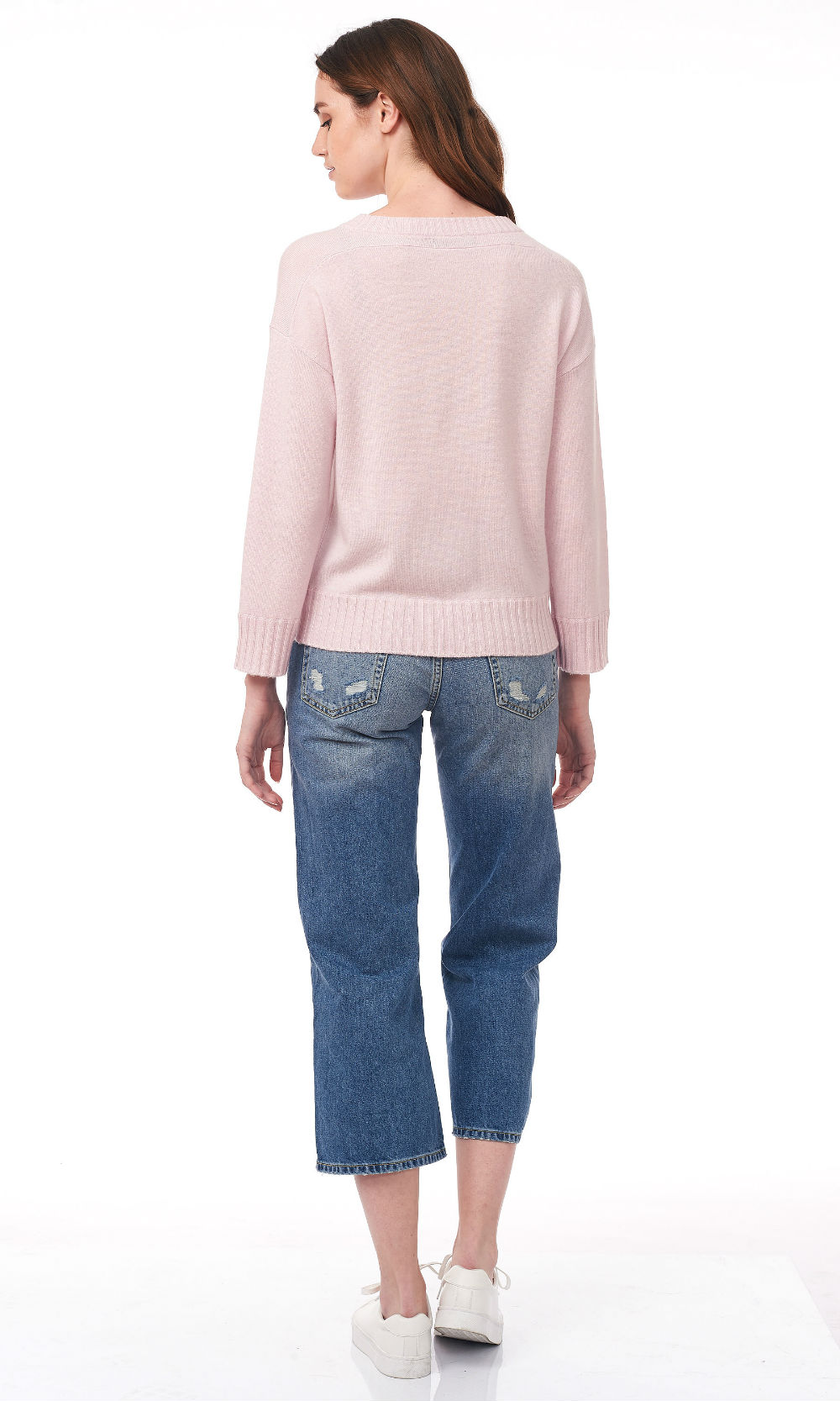 pink cropped round neck sweater back