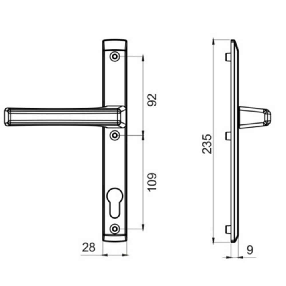 Aluminium Door Handle Glass Door Handle Double Sided Door Pull Handle Drawing