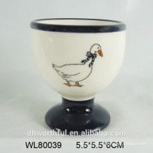 New design Ceramic egg cup with duck decal