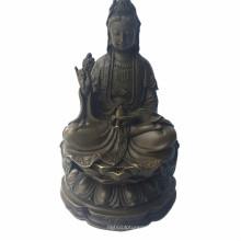 Buddha Bronze Skulptur Lotus Avalokitesvara Messing Statue Tpfx-B90