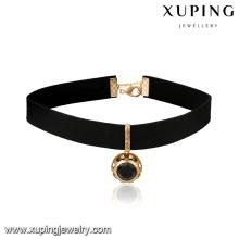 43710 New design leather choker necklace gemstone color optional pendant for girls