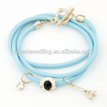 Multi layer Eiffel Tower charm cheap wrap clasps for leather bracelets