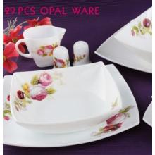 Vaisselle en verre blanc laiteux à 29 têtes avec vaisselle