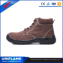Brown Suede Leather Steel PU Sole Work Safety Shoes Ufb028