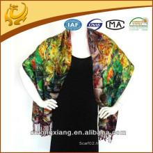 Écharpe femme Impression digitale double couche et stoles brossés en soie avec Tassel